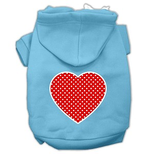 Red Swiss Dot Heart Screen Print Pet Hoodies Baby Blue Size XS (8)